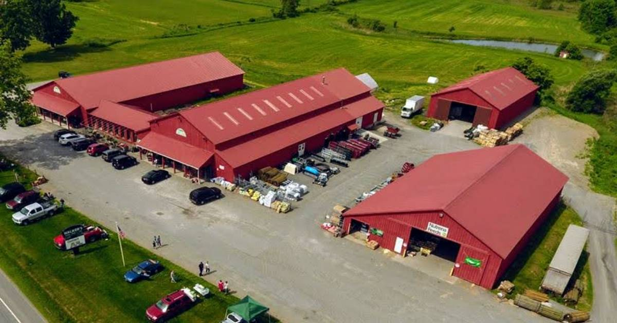 aerial view of farm store