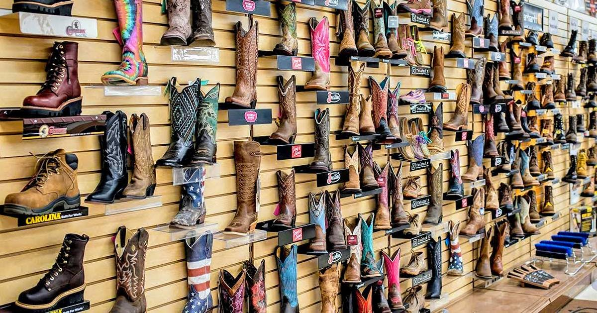wall of boots on display