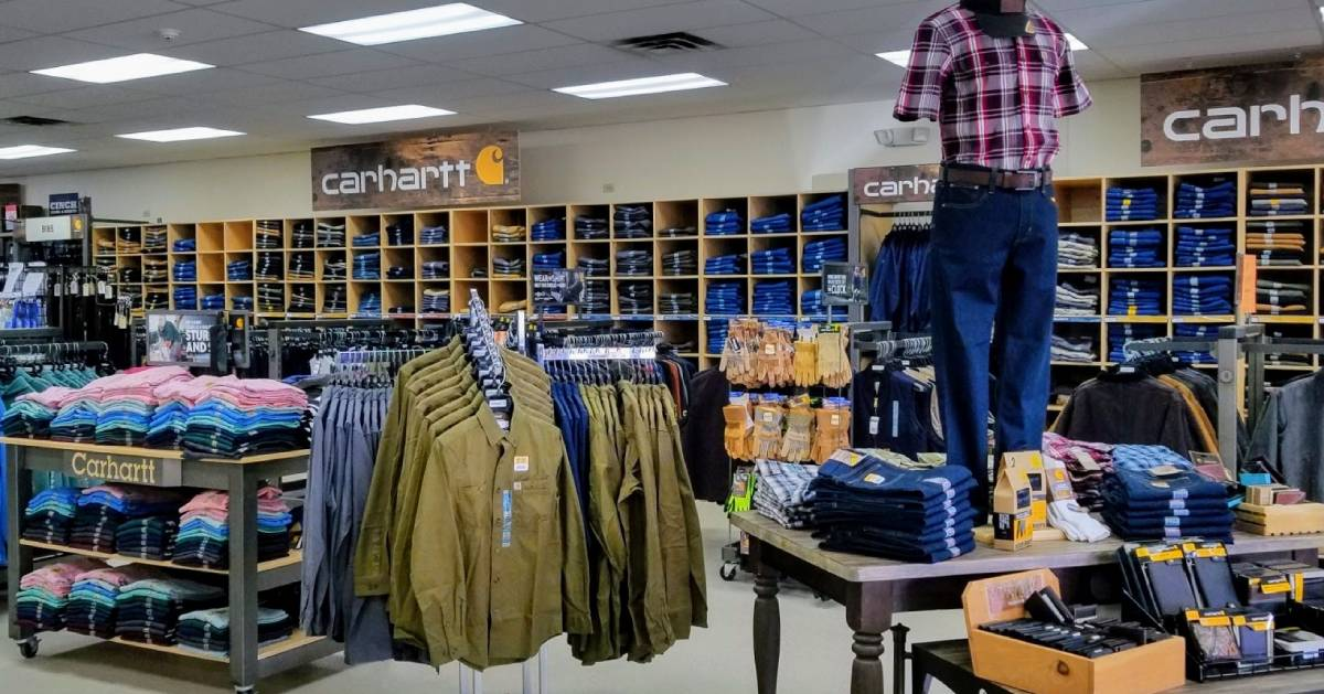 Carhartt section of store