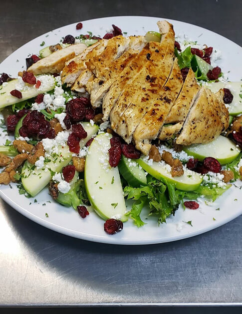 A salad on a white plate