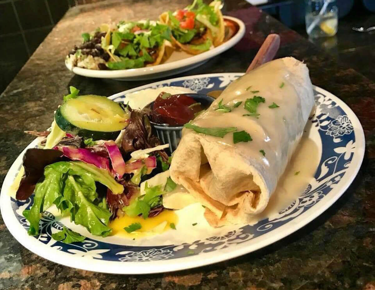A burrito topped with gracy and green herbs sits aside a colorful salad on a blue and white plate.