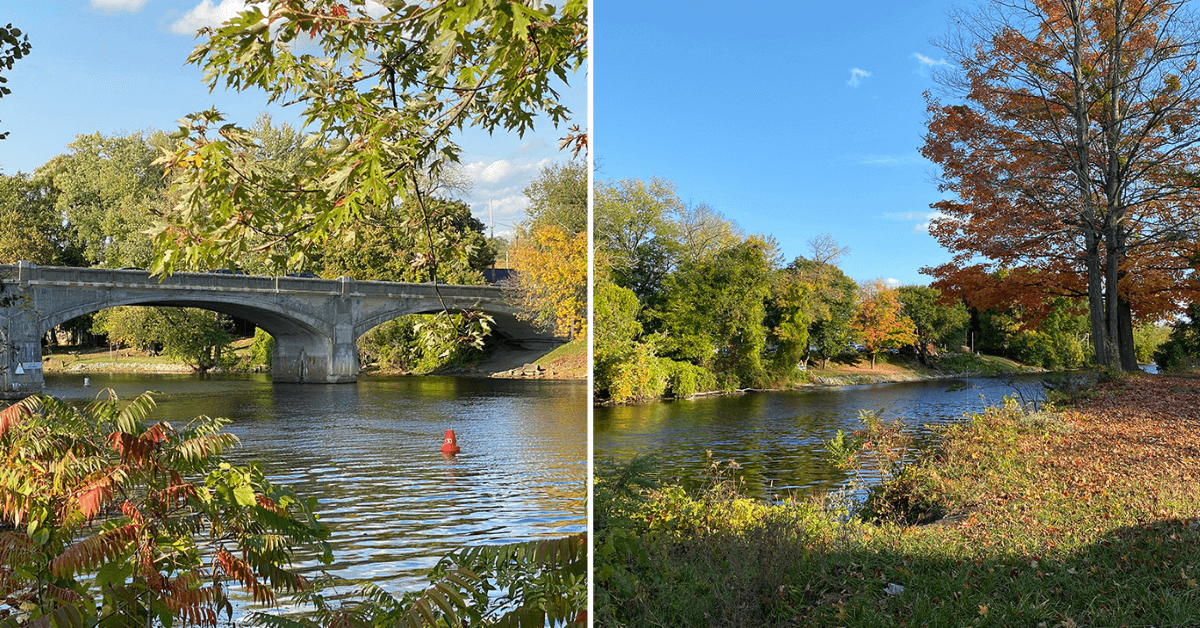Two images of the Hudson River sit side by side. It appears to be fall.