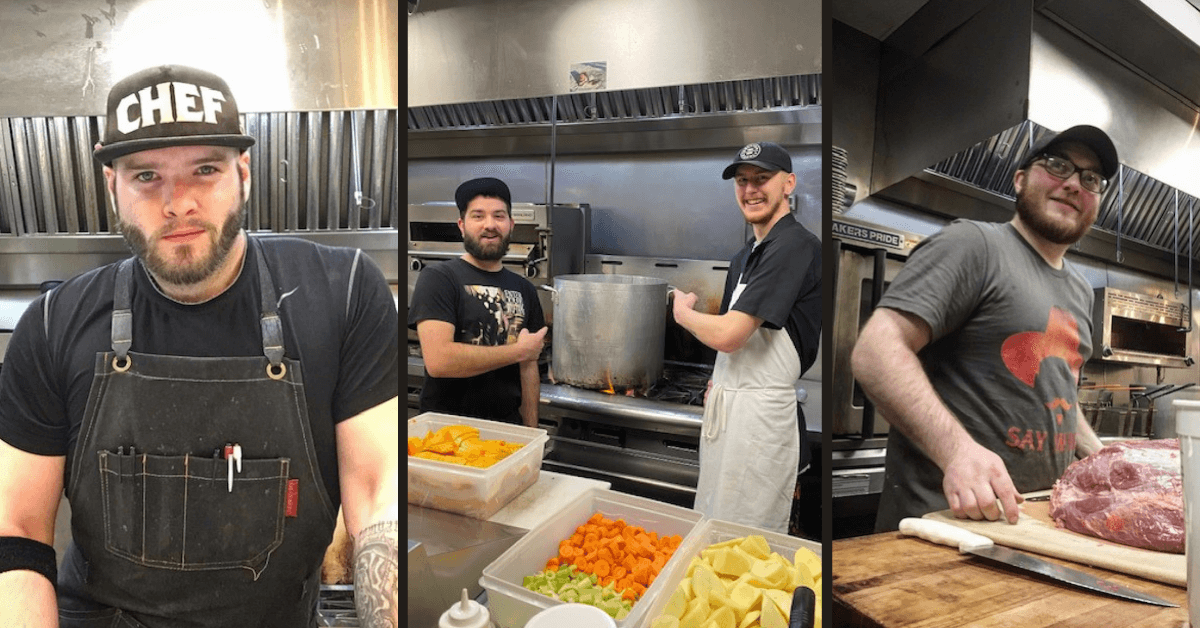 "At left, a man with a beard wearing a black cap that says ""Chef"" on it. The center photo shows too chefs pointing at a large pot on a stovetop. Chopped vegetables rest in front of them. At right, man in glasses smiles behind a cutting board.."
