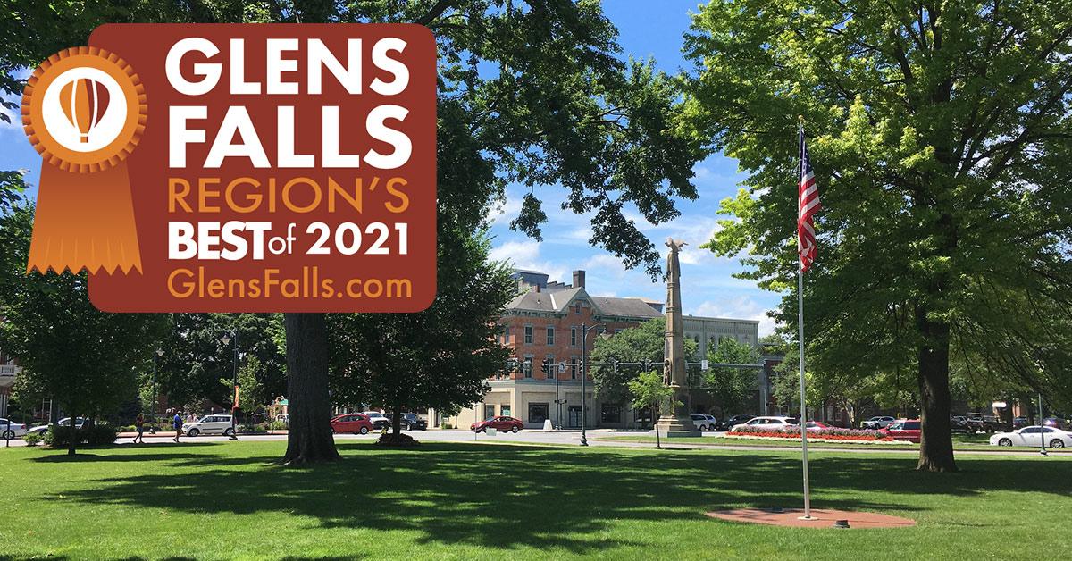 downtown glens falls with orange region's best badge