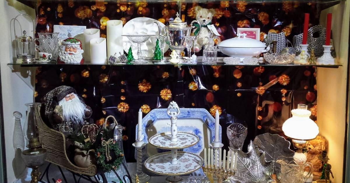antique Christmas items on a shelf