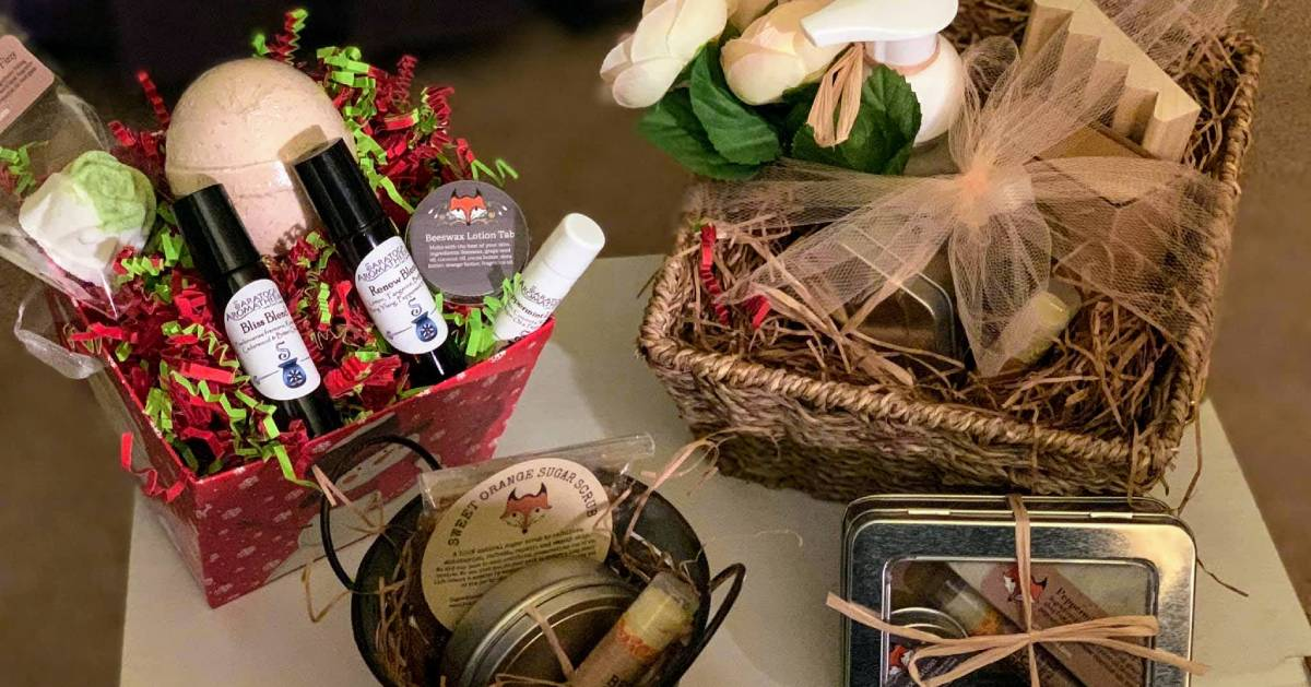 baskets of aromatherapy products