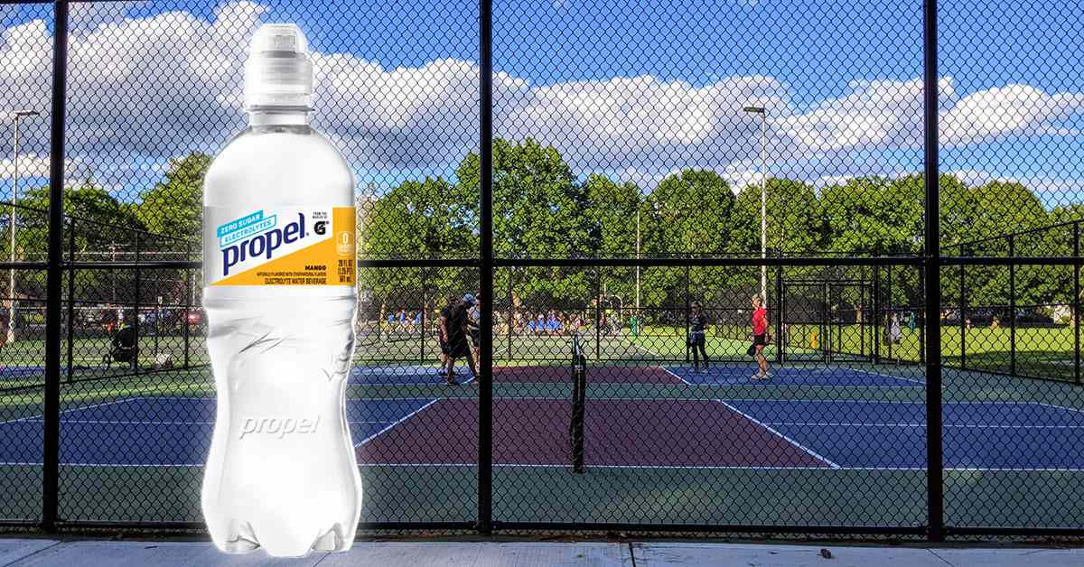 image of propel water on a pickleball court photo