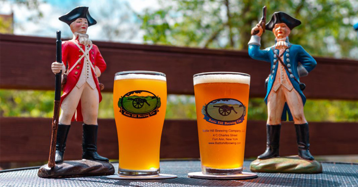 two beers with soldier figurines at Battle Hill Brewing