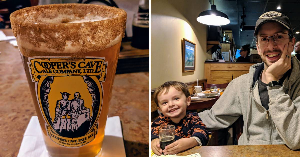 split image with beer on the left and kid and dad at restaurant on the right