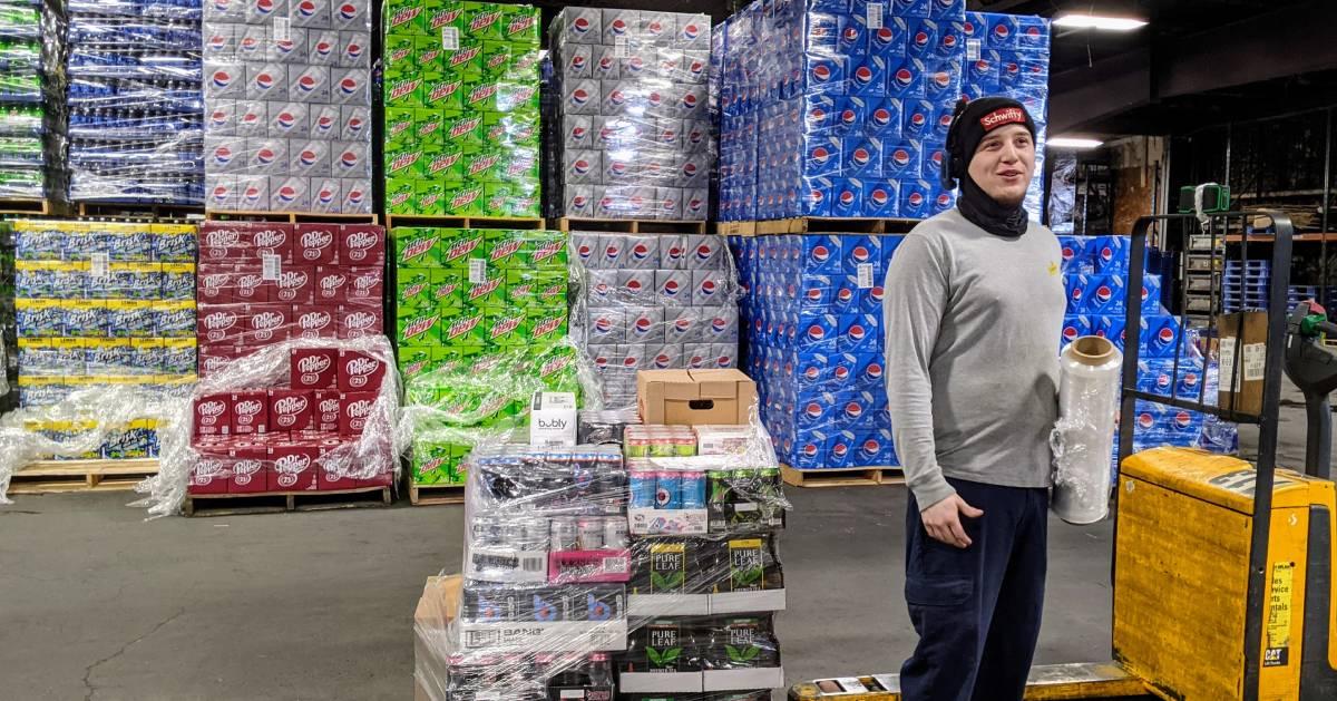 beverage employee man in warehouse