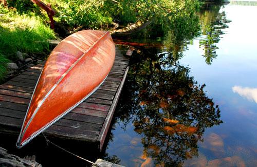 a big red canoe