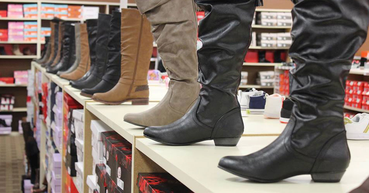 boots on display in a shoe store