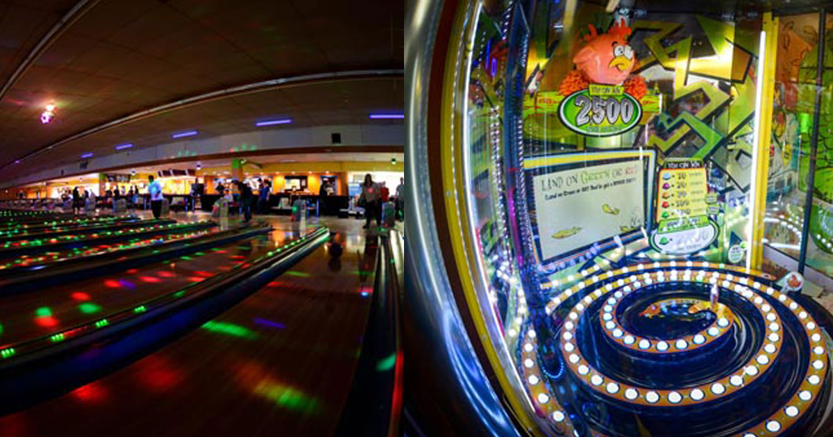 split image with bowling lanes on the left and arcade on the right