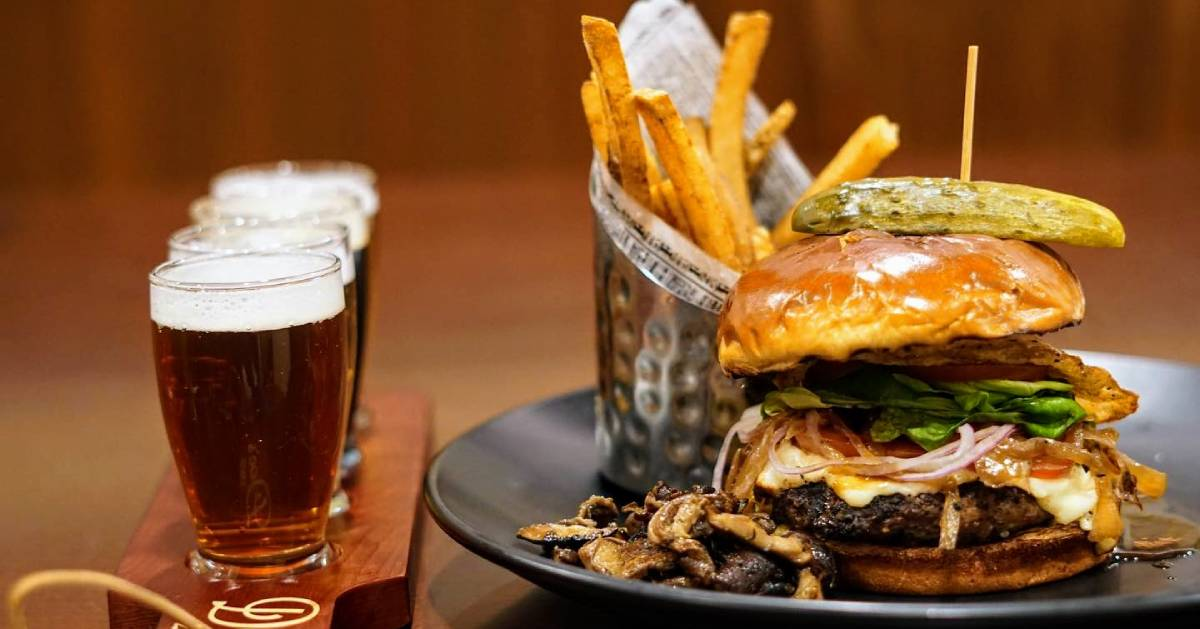 burger, beer, fries