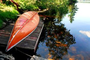 canoe on a dock