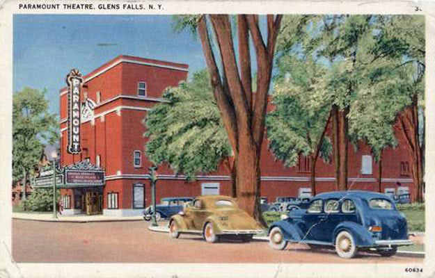 and old fashioned picture of the Paramount Theatre in Glens Falls