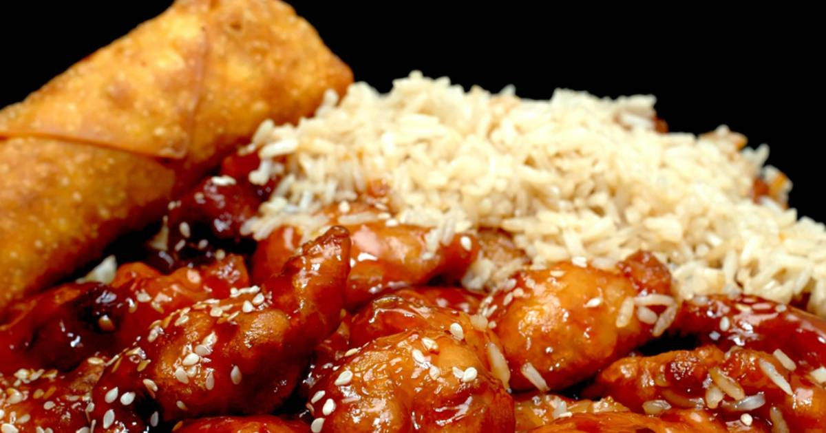 eggroll, chicken, and rice