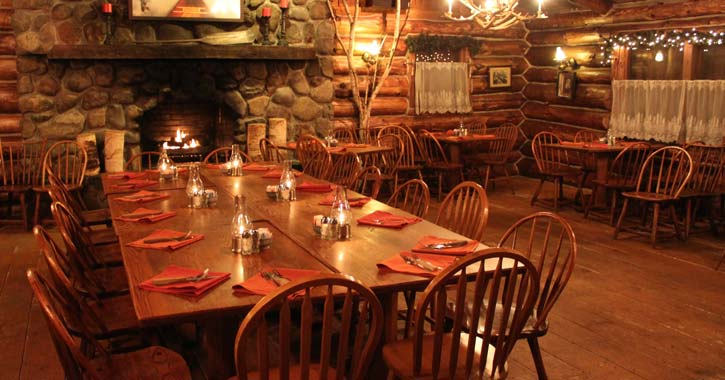 a cozy restaurant at the log jam