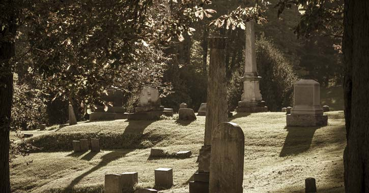a dark cemetery