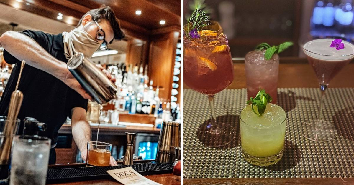 split image with masked man pouring cocktail at bar on the left and cocktails on the right