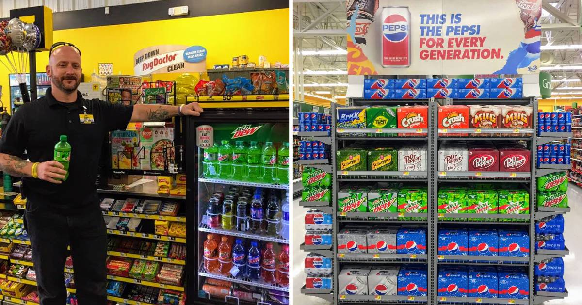 split image with dollar store on the left and grocery store on the right