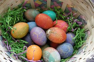 easter eggs basket real eggs