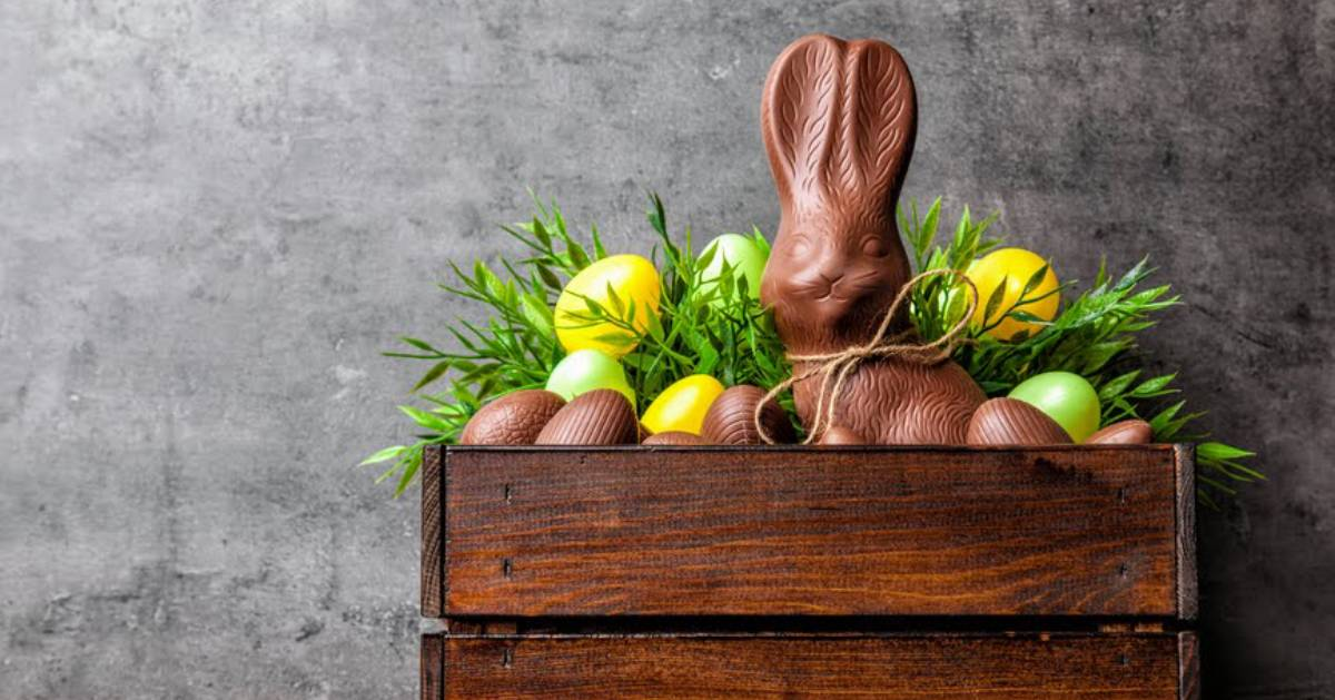 chocolate Easter bunny with eggs in crate