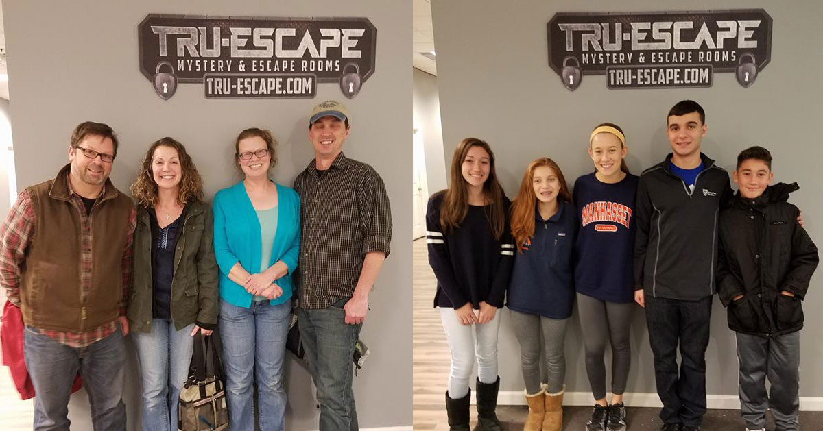 split image with two different groups of escape room people