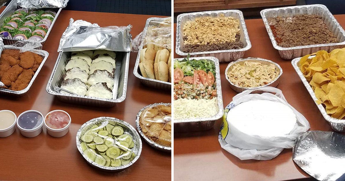 employee lunch options including burgers and tacos