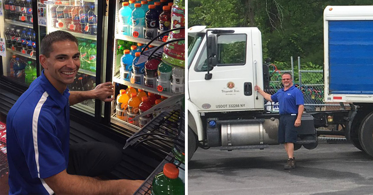 split image with two different employees