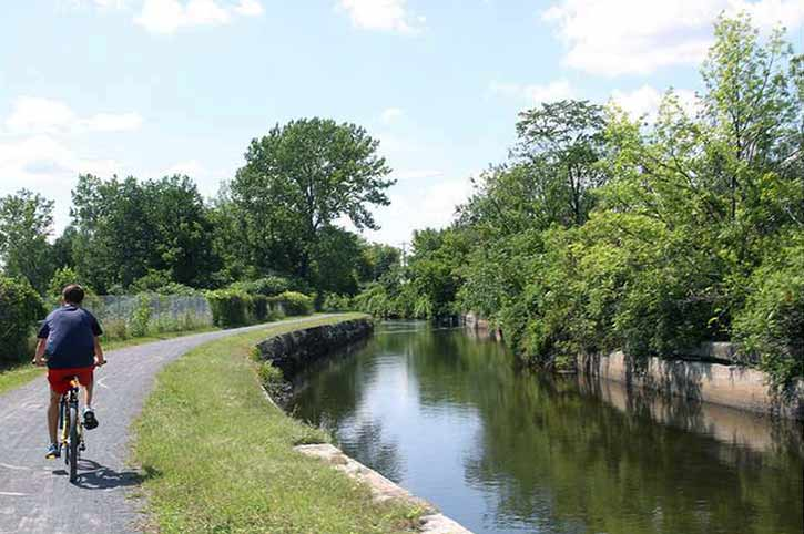 biker on Feeder Canal Trail