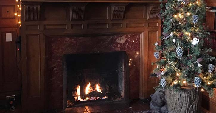 close up view of a fireplace