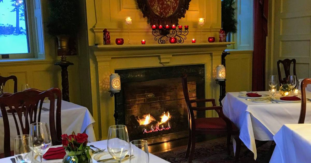 fireplace in restaurant