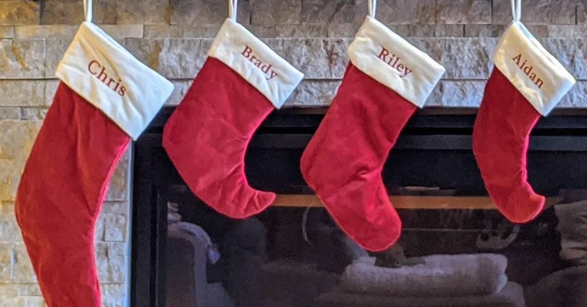 four stockings hanging