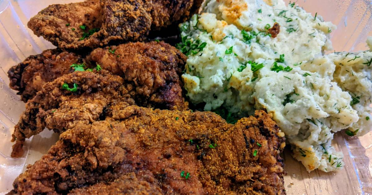 fried chicken and dill potato salad