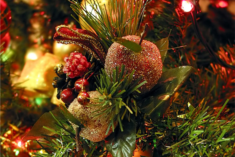fruit ornament on christmas tree