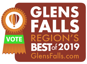 glens falls region's best 2019 badge with vote ribbon