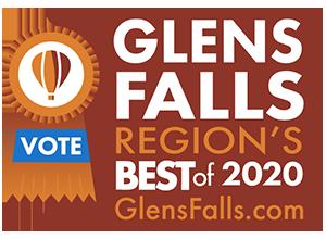 glens falls region's best 2020 badge with vote ribbon