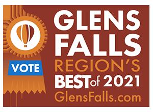 glens falls region's best 2021 badge with vote ribbon
