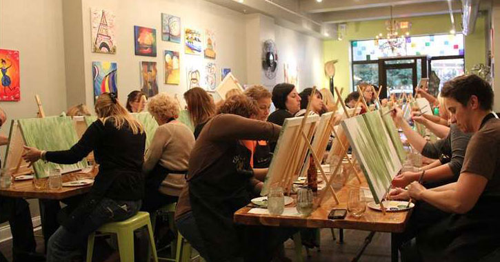 women painting in a paint and sip studio