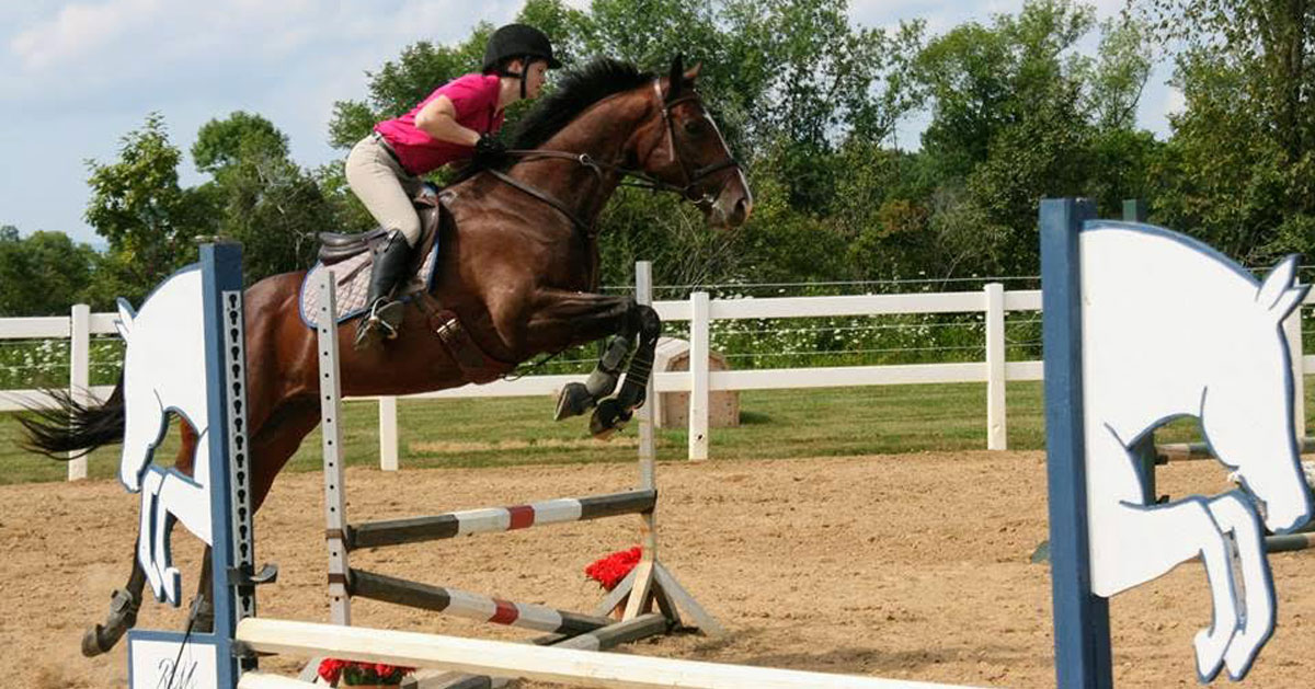a girl on a horse jumping over an obstacle