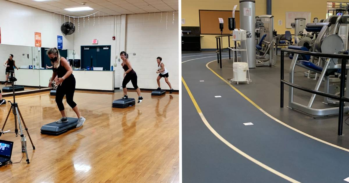 split image with an exercise class on the left and a track on the right