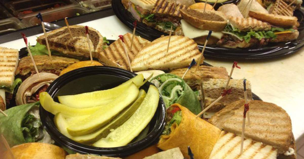 sandwiches from gourmet cafe on a platter
