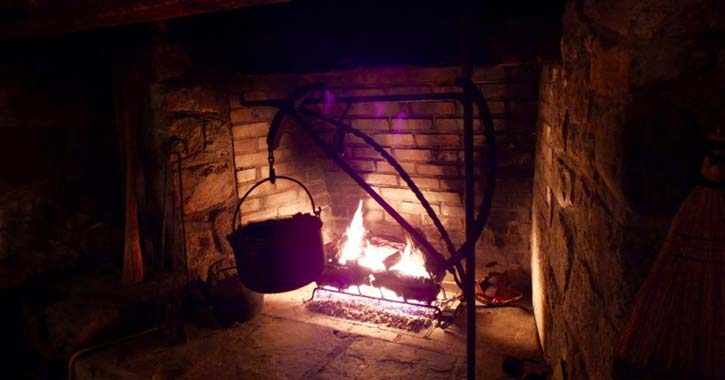 fireplace at the grist mill