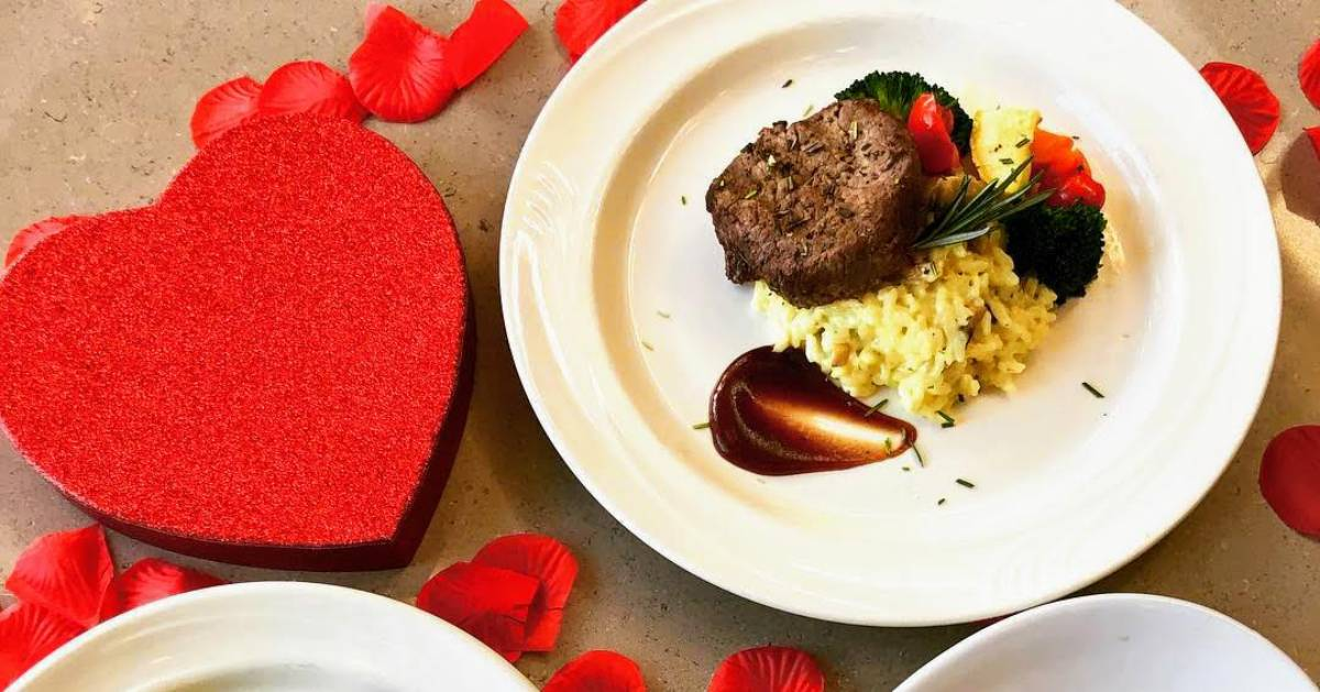 plated dinners with Valentine's decorations