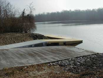 concrete boat launch into a river
