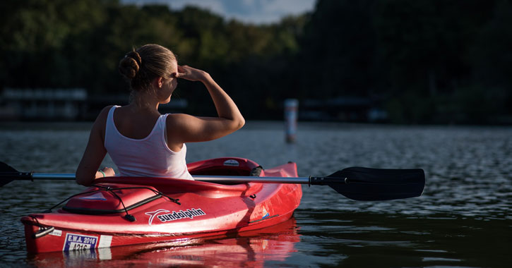 a woman kayaking