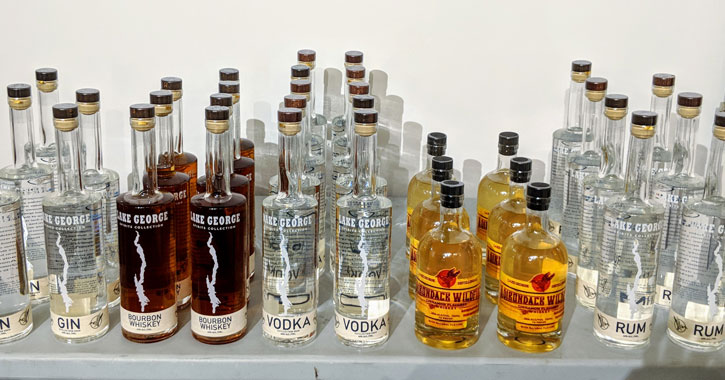 a lineup of Lake George Distilling products on a table