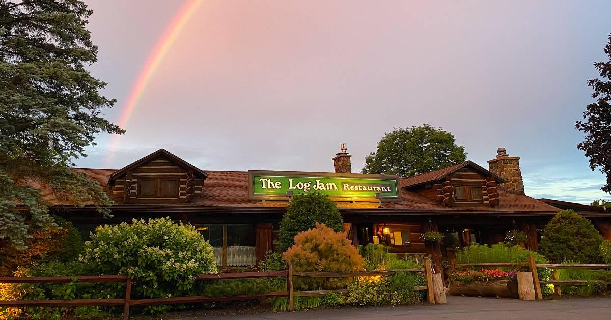 a rainbow above a restaurant