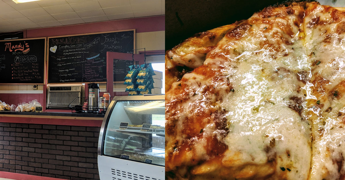 split image with inside of sub shop on the left, pizza on the right